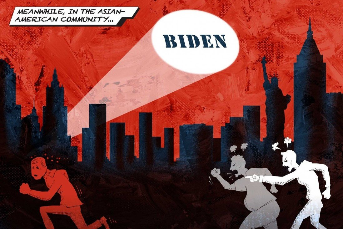 "Text: Meanwhile, in the Asian American Community. Description: A hate-spewing crowd chases someone through a city. A bat-signal reading ""BIDEN"" is visible in the sky."