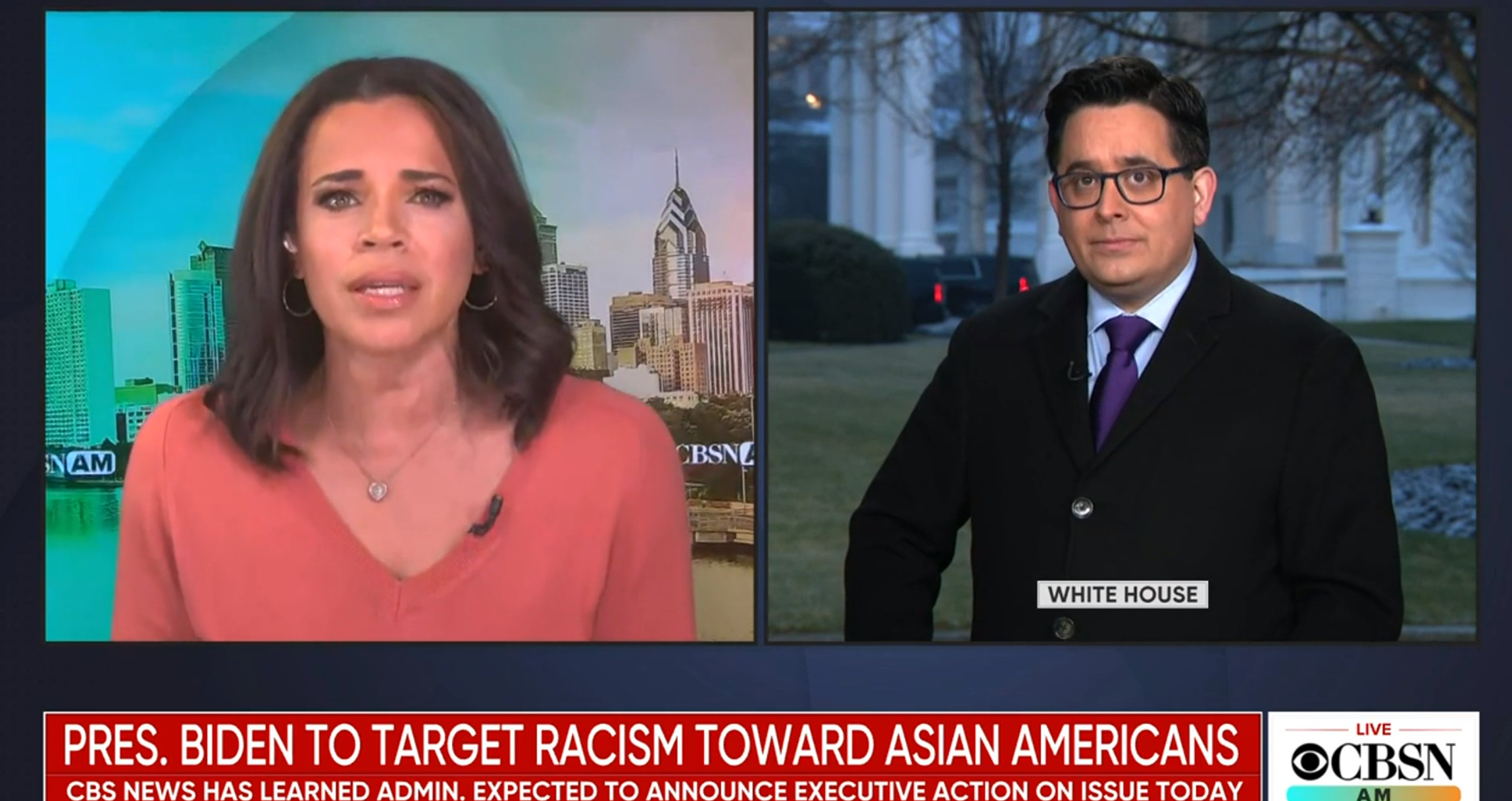 "Two CBS News Anchors discuss President Biden's anticipated executive order. Headline: ""President Biden to Target Racism Toward Asian Americans"