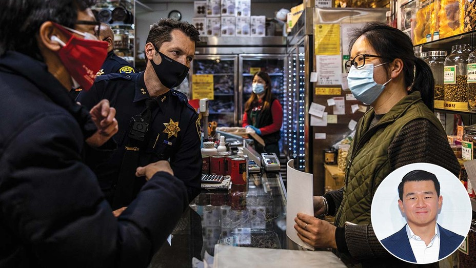Oakland Chinatown Chamber of Commerce president Carl Chan speaks with police and a shopkeeper in the wake of anti-Asian American attack