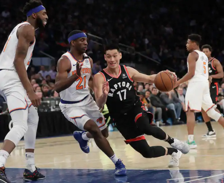 Jeremy Lin, seen here with the Raptors in 2019, became the first Asian American player to win an NBA championship when Toronto defeated Golden State in that season's Finals.