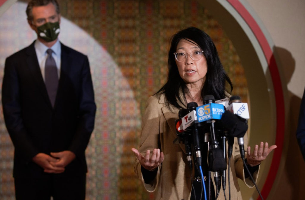 Cynthia Choi at a Friday, March 19 press conference with California Governor Gavin Newsom, condemning anti-Asian hate. (
